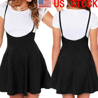 US Women's High Waist Strap Mini Skirt Pleated Skater Flare Suspender Dress new