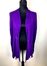 Teaberry sz 10 purple women open knit cardigan stretch cotton blend