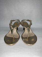 $395.00 Christian Dior Gold Sandal Thong, logo Charm sz 36 Tortoise Kitten Heel