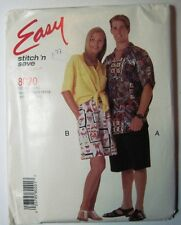 1996 McCall's 8020 Easy Stich'nSave Sewing PATTERN Misses & Mens Shirt & Shorts