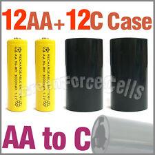 12 3000mAh AA NIMH BATTERIE jaune + 12 AA à C LR14 Boitier Support