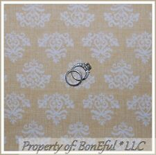 BonEful Fabric Fq Cotton Quilt Vtg Natural Cream Tan Heart Damask Flower Calico