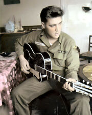 "ELVIS PRESLEY KING OF ROCK & ROLL in ARMY UNIFORM 8x10"" HAND COLOR TINTED PHOTO"