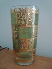 7 VINTAGE Culver Ltd GREEN PRADO High Ball Drinking Bar Glasses w/ 22K Gold