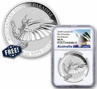 2018 P Australia 1oz Silver Bird Paradise $1 NGC MS70 FR Plus Free Coin SKU57796