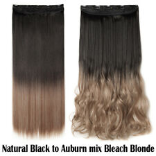 Clip in One Piece Hair Extensions 3/4 Full Head Any Color Wavy Curly Blonde TA2