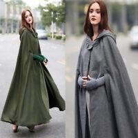 Womens Lady Winter Warm Coat Wool Poncho Long Jacket Cloak Cape Shawl Outwear