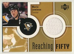 2002-03 Upper Deck Reaching Fifty Gold MARIO LEMIEUX Jersey Rare Penguins SP /50