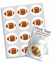 12 RUGBY BALL Cupcake Decoration Edible Cake Toppers Pre Cut 40mm Football
