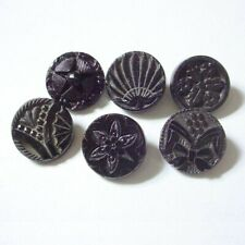 """6 VICTORIAN BLACK GLASS BUTTONS 1/2"""" ASSORTED FANS STARS FLOWERS NBS SMALL"""
