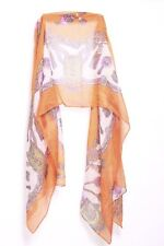 Tangerine Blush Lemon & Magenta Amulet & Royal Items Print Sheer Scarf (S156)
