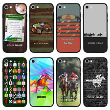 Personalised Glass Back Case for iPhone 6 6s 7 8 PLUS X XS MAX XR / HORSE RACE