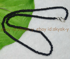 """Lot 2x4mm Black Agate Faceted Roundel Gems Beads Necklace Silver Clasp AA 16-28"""""""