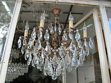Antique Vintage 8 arms 3 Chrubs Crystal Chandelier Lamp 1960s 60cms Diamtr Rare*