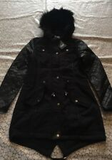 New Ladies size 10 black AX Paris quilted sleeve fur hood parket style jacket