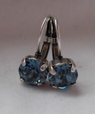 8mm CupChain DENIM BLUE/ANTIQUE SILVER Leverback Drop EARRINGS~Swarovski Crystal