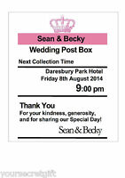 Personalised Royal Mail Post Box (PINK) Wedding Card Wish Well Photo 7x5 Sign