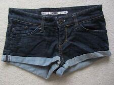 NEW LOOK Denim SHORTS Hot Pants Frayed Paisley Waistband Low Rise Size EU34 UK 6