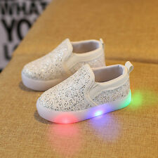 Fashion Kids Toddler Baby Girl Leather Lighted SNEAKERS Soft Crib Shoes Moccasin Pink 3-4 Years