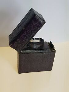 Antique Miniature Inkwell Glass Pop Up Ink Well Travel Leather Carry Case Gents