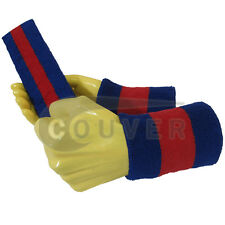 Couver Blue Red Blue Striped Headband Wristband Set