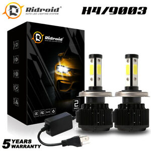 4-Side H4 9003 LED Headlight High Low Beam Conversion Kit Canbus 6000K HID White