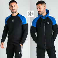 Gym King Mens Core Plus Tracksuit Designer Zip Thru Hoodie Sweatshirt Black 0007