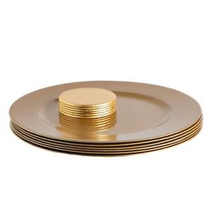 12 Piece Metallic Charger Plates Set Luxe Table Under Plate Coasters Gold