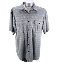 Northwest Territory Button Up Shirt Short Sleeve Grey White Mens Size XXL Cotton