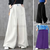 ZANZEA Womens Elastic Waist Pants Culottes Palazzo Wide Leg  Trousers Plus Size