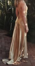 Gold Satin Halter Neck Backless Ball Dress Size 8