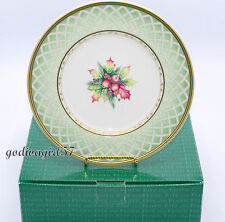 Fitz & Floyd Winter Holiday Green Wreath * 8 SALAD PLATES * Christmas  NEW/BOX!