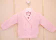 PEX DOUBLE BREASTED CARDIGAN STYLE MOBY PINK  BLUE WHITE SIZE 0/3 3/6 6/9 9/12