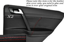 RED STITCH 2X REAR DOOR CARD TRIM LEATHER COVERS FITS VW POLO MK6 5 DOORS