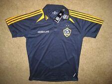 NWT Los Angeles GALAXY MLS Men's Medium Adidas Navy Blue Button Up Polo Shirt