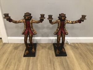 Pair Of Vintage Bill Huebbe Monkey Candle Holders