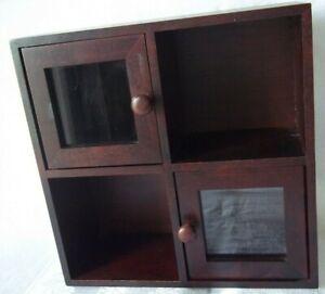 SMALLER WOOD  DISPLAY CASE 2 GLASS DOORS DISPLAY CABINET