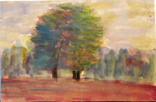 LANDSCAPE BIG TREES drawing in impressionism style by Russian artist A.M.Gromov