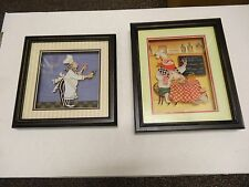 2 Fat Chef Framed PictureS Wall Art Hanging Decor Italian Wine LAYERED  FOR 3D