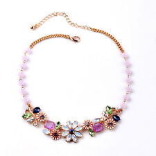 NEW * Anthropolo​​gie Fortuna Flower Bed Pink Purple Blue Green Gemmed Necklace