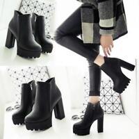 Women's lady  Ankle Boots Platform Block High Heels Zipper Black Chunky Shoes