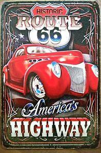 ROUTE 66 Rustic Metal Tin Sign. Plaque Vintage Garage, Cafe, Bar & Man Cave