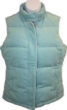 GAP Ladies Womens Aqua Pinwale Corduroy Fleece Lined Down Puffer Vest Sz Small