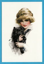 """""""Girl with a cat"""" by artist Harrison Fisher, Russian modern postcard"""