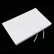 White Wedding Notebook Party Guest Book Pearl Lace Flower Applique Guestbook