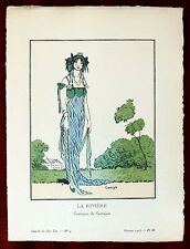 Gazette du Bon Ton Print Pochoir ~ February 1913 No 4 ~ La Riviera by Carlegle