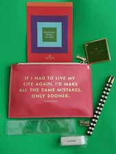 Kate Spade Same Mistakes Sooner Leopard Coral Pink 6 PC Pencil Set Pouch