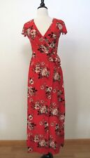 Anthropologie Maxi Dress Faux Wrap Surplice New Size Large Red Floral Boho
