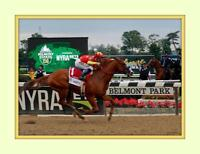 JUSTIFY wins Triple Crown Belmont Stakes 8x10 Double Matted 5x7 Photo print