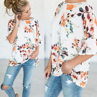 Women Round Neck Casual Loose Fit Short Sleeve Floral Tunic Top T-Shirt  Blouse